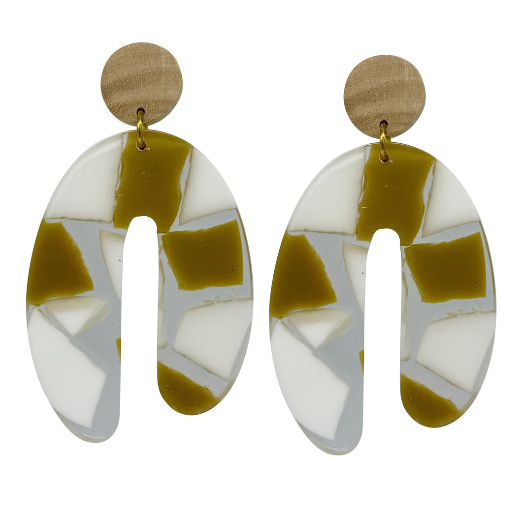 Acrylic and Wood Statement Arch Earring White and Mustard