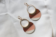Load image into Gallery viewer, Peach Wood and Acrylic Dangles