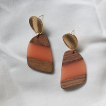 Load image into Gallery viewer, Peach Wood and Resin Dangles