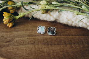 Abalone Clover Stud in Silver