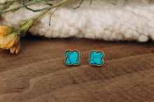 Load image into Gallery viewer, Turquoise Clover Stud in Gold