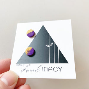 Mini Purple and Gold Mix Clay Studs Classic Studs One of a Kind 0299