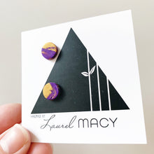 Load image into Gallery viewer, Mini Purple and Gold Mix Clay Studs Classic Studs One of a Kind 0298