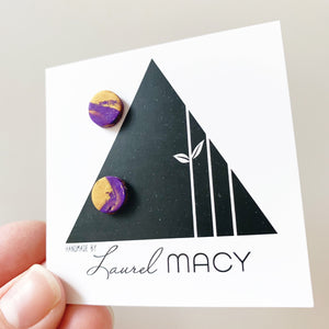 Mini Purple and Gold Mix Clay Studs Classic Studs One of a Kind 0298