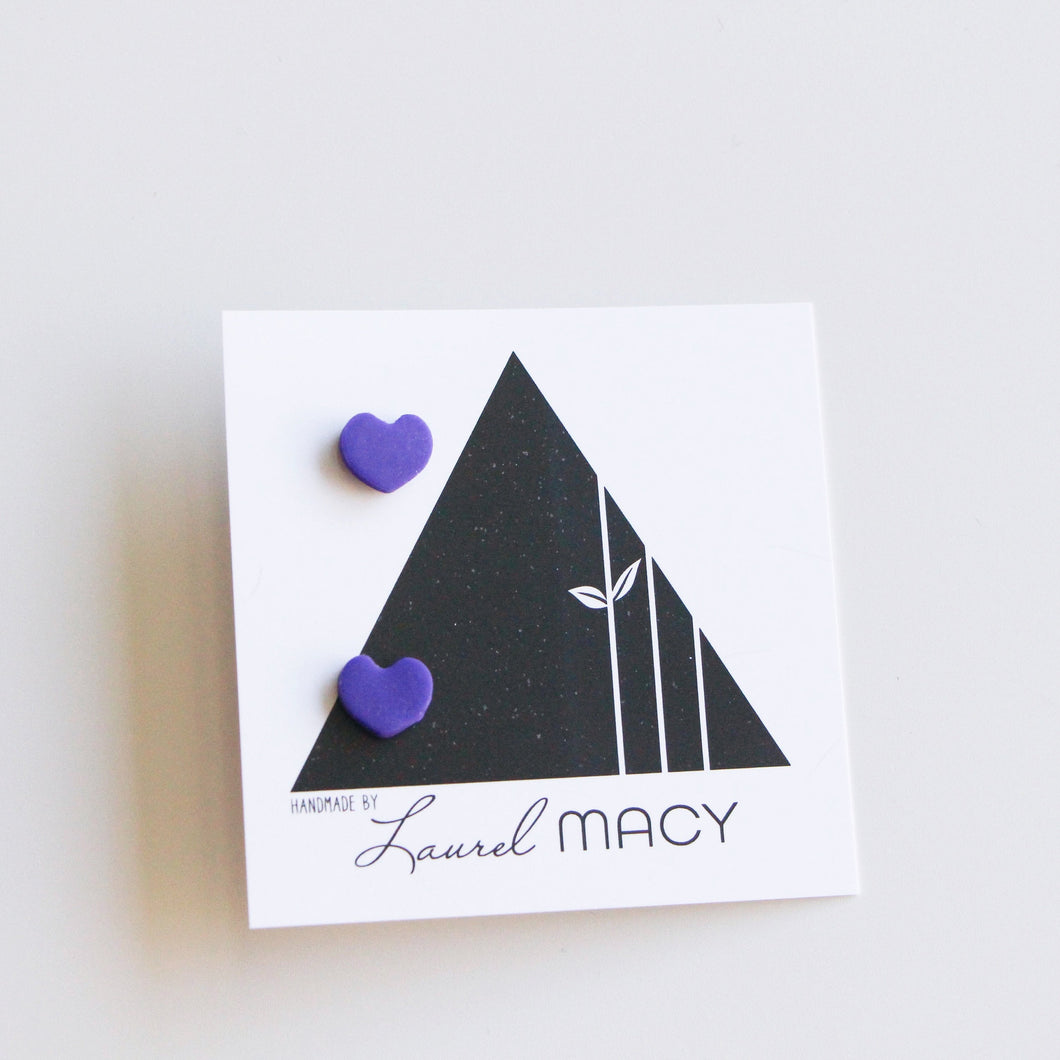 Mini Purple Heart Solid Clay Studs Classic Studs