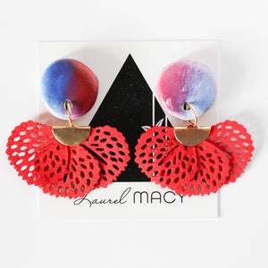 Red White and Blue Dangle Earrings| Handmade Polymer Clay with Suede Tassel Stud Back Dangles | Statement Earring Red White and Blue