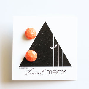 Orange Gem Stud Earrings, Polymer Clay Handmade Studs, Geometric simple modern chic earring