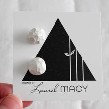 Load image into Gallery viewer, White Glitter Gem Stud Earrings, Polymer Clay Handmade Studs, Geometric simple modern chic earring