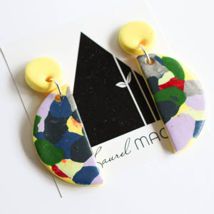 Yellow Summer Terrazzo Handmade Polymer Clay Half Moon Dangle Studs Nickel Free