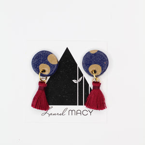 Textured Navy with Tan Dangle Earrings with Burgundy Tassels One of a Kind Round Earrings