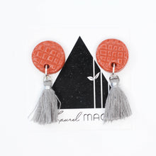 Load image into Gallery viewer, Textured Terra-cotta Circle Dangle Earrings with Grey Tassels One of a Kind Round Earrings