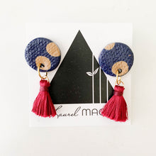 Load image into Gallery viewer, Textured Navy with Tan Dangle Earrings with Burgundy Tassels One of a Kind Round Earrings