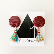 Load image into Gallery viewer, Textured Burgundy Circle Dangle Earrings with Multi Colored Tassels One of a Kind Round Earrings