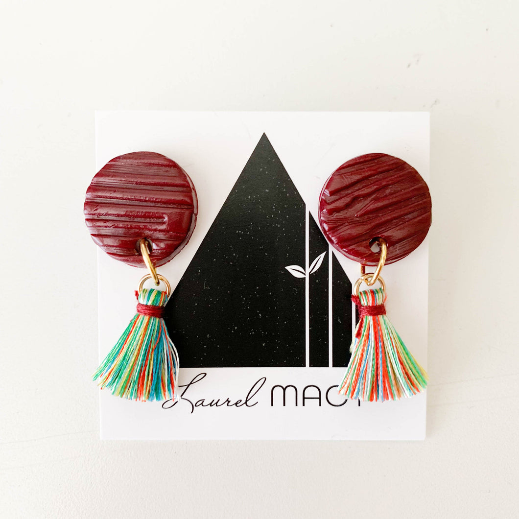 Textured Burgundy Circle Dangle Earrings with Multi Colored Tassels One of a Kind Round Earrings