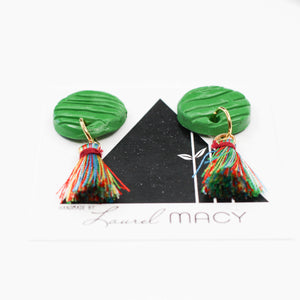 Textured Emerald Green Circle Dangle Earrings with Multi Colored Tassels One of a Kind Round Earrings