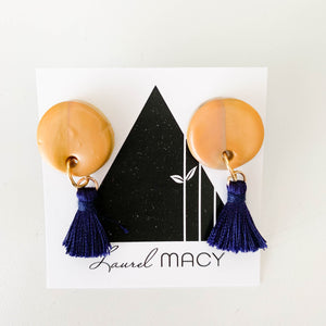 Gold Circle Dangle Earrings with Midnight Tassels One of a Kind Round Earrings