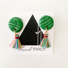 Load image into Gallery viewer, Textured Emerald Green Circle Dangle Earrings with Multi Colored Tassels One of a Kind Round Earrings