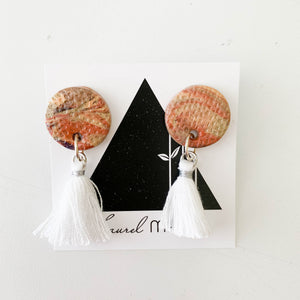Textured Terra-cotta Marble Circle Dangle Earrings with White Tassels One of a Kind Round Earrings