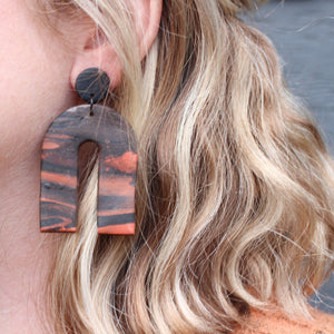 Black and Rust Arch Dangles with Black Accents