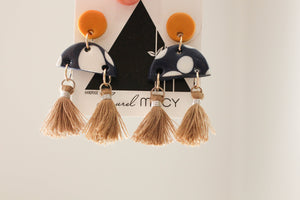 Mustard and Navy Polkadot Half Dangles with Tan Tassels Handmade