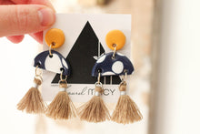 Load image into Gallery viewer, Mustard and Navy Polkadot Half Dangles with Tan Tassels Handmade