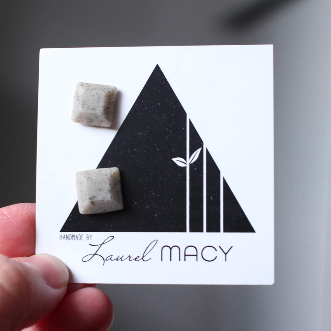 Grey Speckled Geometric Square Studs with Matte Finish
