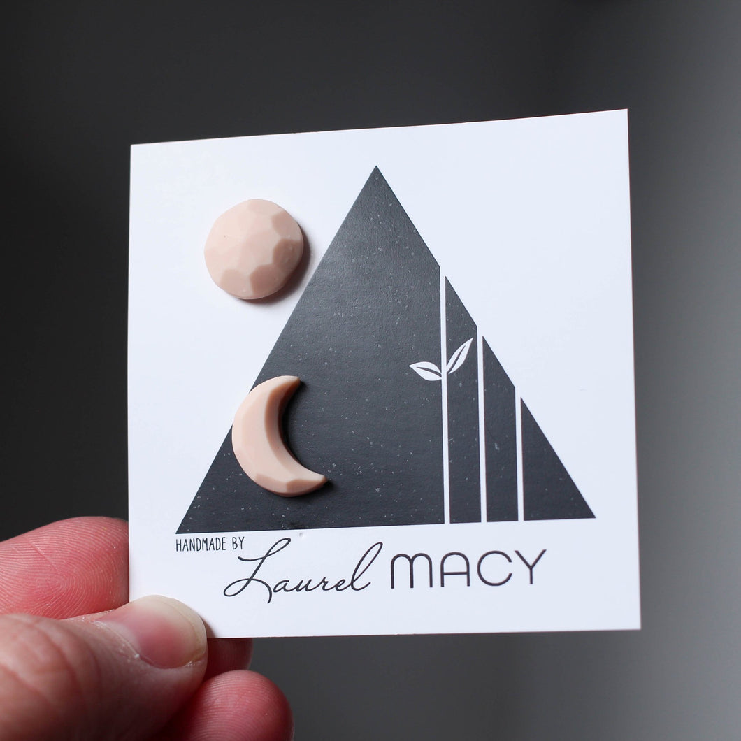 Beige, Moon Phases Miss Match Geometric Studs with Matte Finish