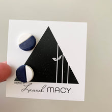 Load image into Gallery viewer, Navy White Halves Clay Stud Earrings