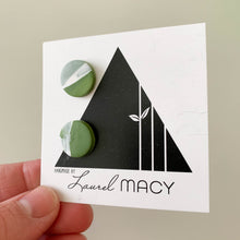 Load image into Gallery viewer, One of a Kind Green and White Studs 009