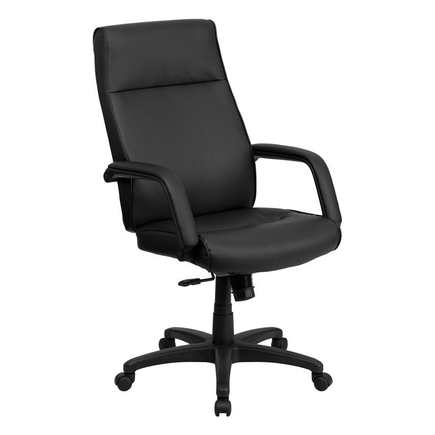 High Back Black Leather Executive Office Chair With Memory Foam Paddin Gats B Ella Home Garden