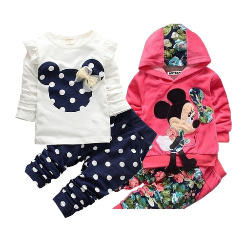 Girls clothing sets Mickey Children Clothes Set Cotton Bow Tops T shirt Leggings Pants Baby Kids 2 Pcs Suit Costume For 0-4 Year