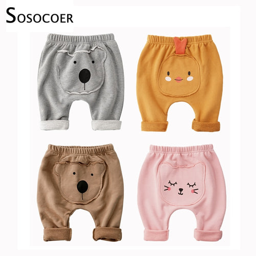 SOSOCOER Baby Pants for Boys Trausers Newborn Pants Cartoon Animal Patch Long Pants Boys Harem Pants Children Clothes Trousers