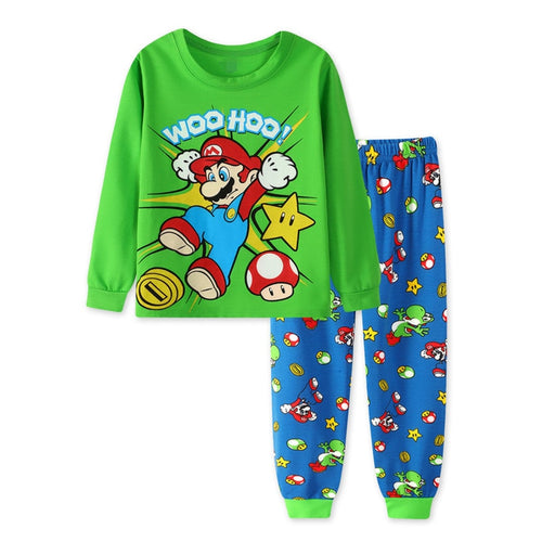 2019 Casual Homewear Pajamas Cartoon Cotton Ironman Spiderman Super Marios Bros Long Sleeve Children Set Baby Boy Kid Clothing