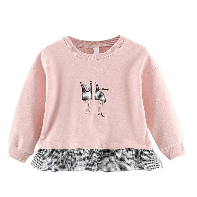 Spring Autumn Baby Girl Sweatshirts Kids Long Sleeve Patchwork Design Sweatshirt for Toddler Girls  Outerwear Coat Clothes