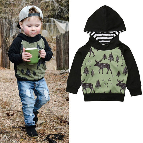 6M-4Y Toddler Baby Boys Hooded Sweatshirt Reindeer Autumn Winter Hoodies Clothes Tops