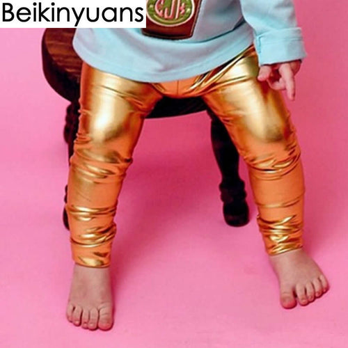 Newborn Baby Pants Golden Silver Black Synthetic Leather Boys Girls Leggings Children Trousers Toddler pants Clothing