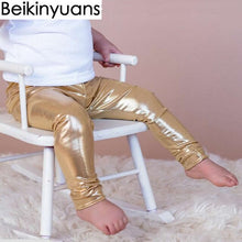 Load image into Gallery viewer, Newborn Baby Pants Golden Silver Black Synthetic Leather Boys Girls Leggings Children Trousers Toddler pants Clothing