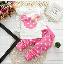 Load image into Gallery viewer, Girls clothing sets Mickey Children Clothes Set Cotton Bow Tops T shirt Leggings Pants Baby Kids 2 Pcs Suit Costume For 0-4 Year
