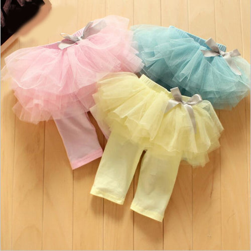 Infant Baby Girls skirt Leggings kids Gauze Pants pink,blue,yellow Party Skirts Bow Candy Tutu pants for 0 to 24m child