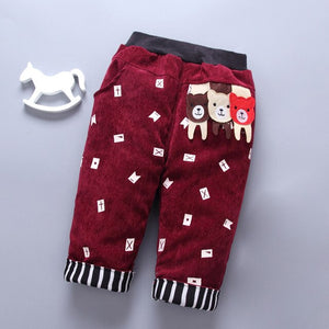 baby pants for Boy girl Autumn Boys warm cotton thick Pant winter Fashion Cartoon Clothes children trousers kids fleece pants 3T