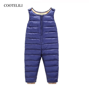 COOTELILI  65-105cm Winter Down Baby Boy Pants Overalls Infant Girls Clothes Thicken Warm  Long Trousers Kids Pants Blue Black