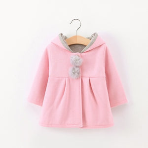 2018 Winter autumn baby hoodies sweatshirts kids Long sleeve 3D Rabbit ear coat Casual Outerwear girl clothing