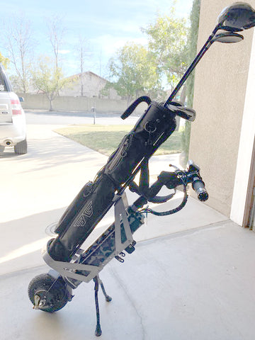 close up of the Cheelcare Companion with a golf club holder made by one of our users