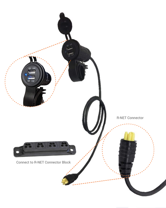 Dual-port USB Charger Adaptor for R-NET powerchairs (Permobil, Quantum, Sunrise & Pride)