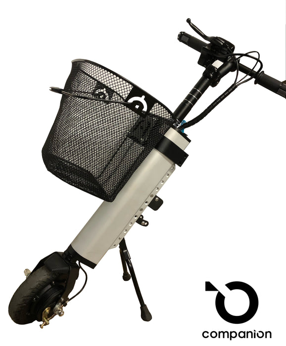Front mounted removable basket for Companion Power Add-on for manual wheelchairs