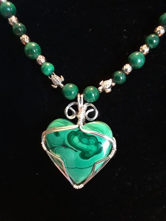 Malachite necklace and earrings set