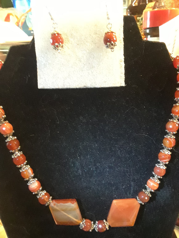 Carnelian Agate Necklace Set