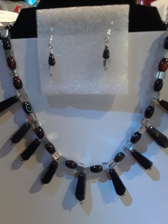 Black Agate Necklace Set