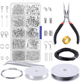 PP OPOUNT Jewelry Findings Set Jewelry Making Kit Jewelry Findings Starter Kit Jewelry Beading Making and Repair Tools Kit Pliers Silver Beads Wire Starter Tool