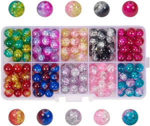 PH PandaHall 200pcs 10 Color Crackle Lampwork Glass Beads 8mm Round Handcrafted Crackle Beads Assortment Lot for Jewelry Making Craft (8mm, Hole: 1.3mm)